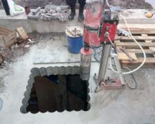 Diamond drilling. Drilling concrete.The hole in the concrete. Drilling on