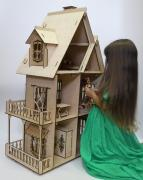 New.Exclusive doll house for Barbie with lighting+furniture