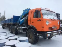 Truck crane, semi-trailer